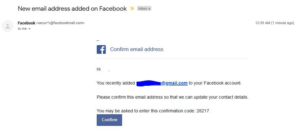 Confirmation Mail From Facebook