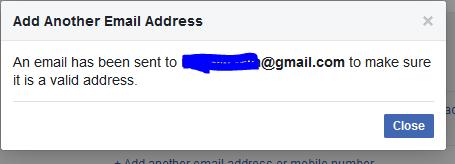 Facebook Confirmation message Sent