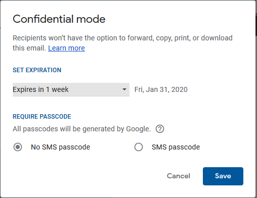 Gmail Confidential Mode Window