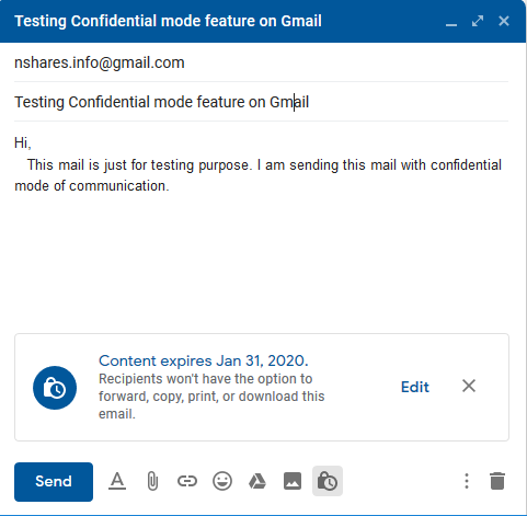 Gmail Mail Sending with Confidential mode