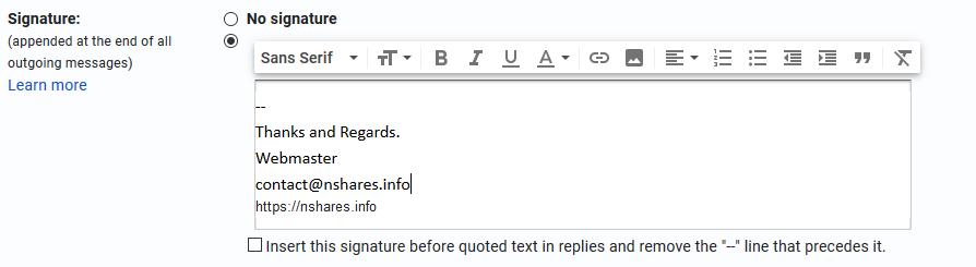 Gmail Signature Window