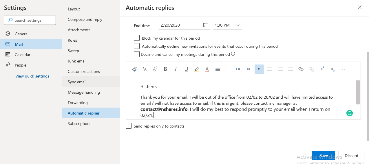 Outlook Auto Reply