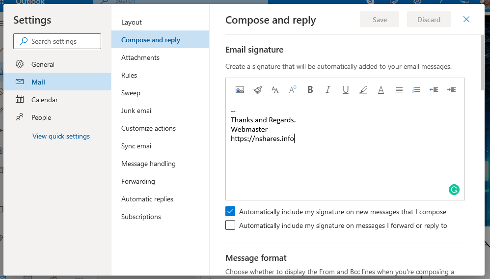 Outlook Signature Window