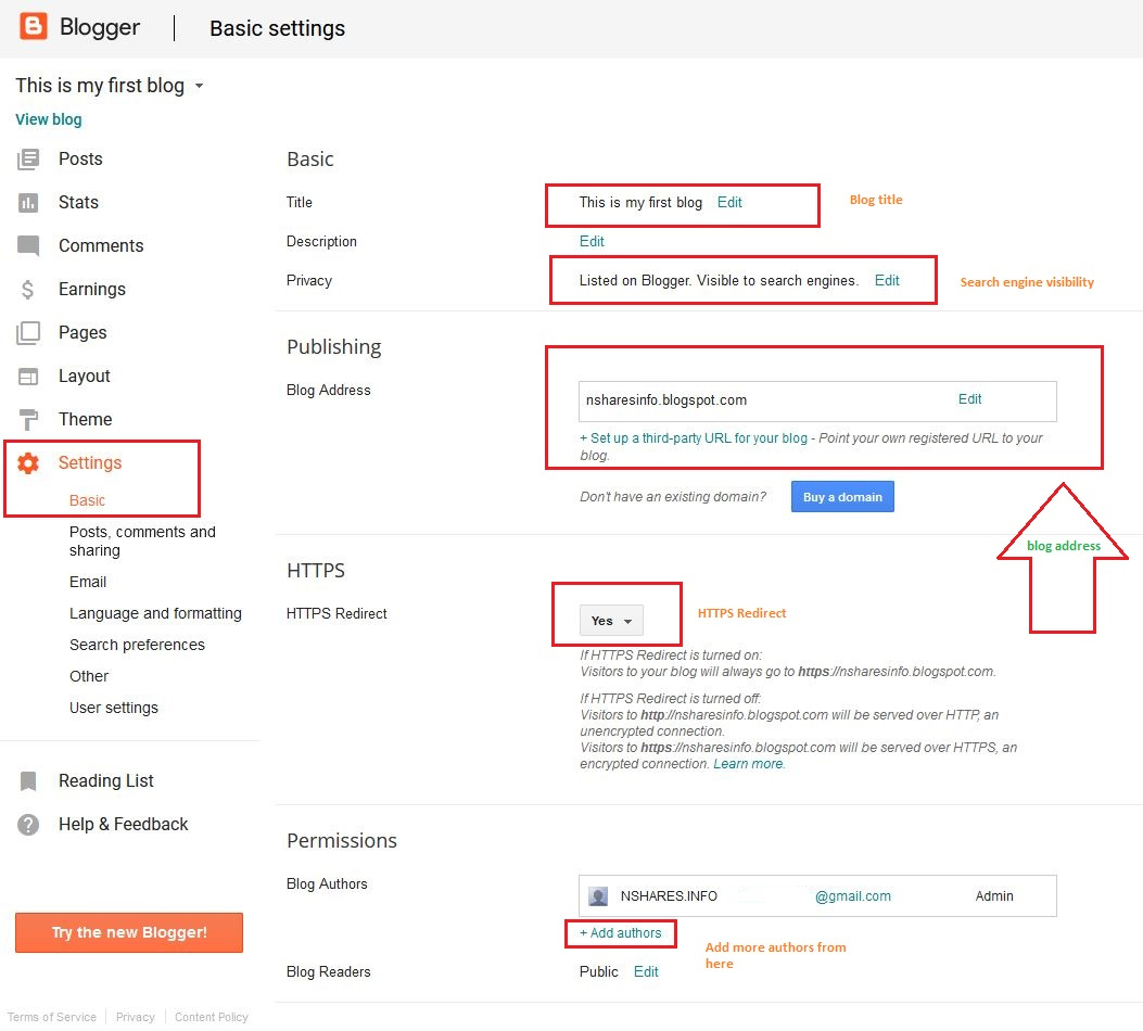 Blogger Settings Page Basic
