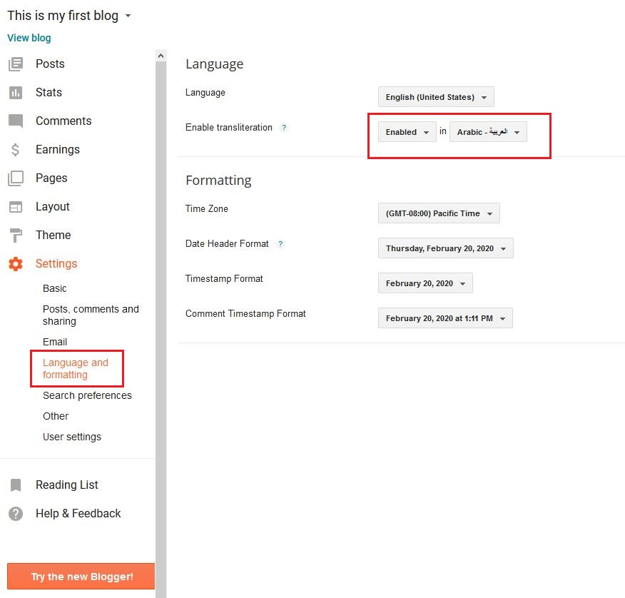 Blogger Settings Page Language And Formatting