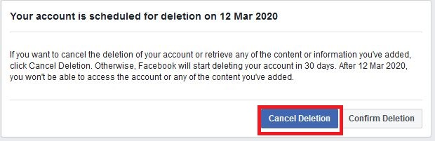 Cancel Deletion the facebook account