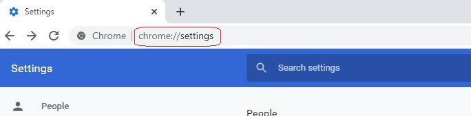 Chrome Open settings page by typing on the address bar