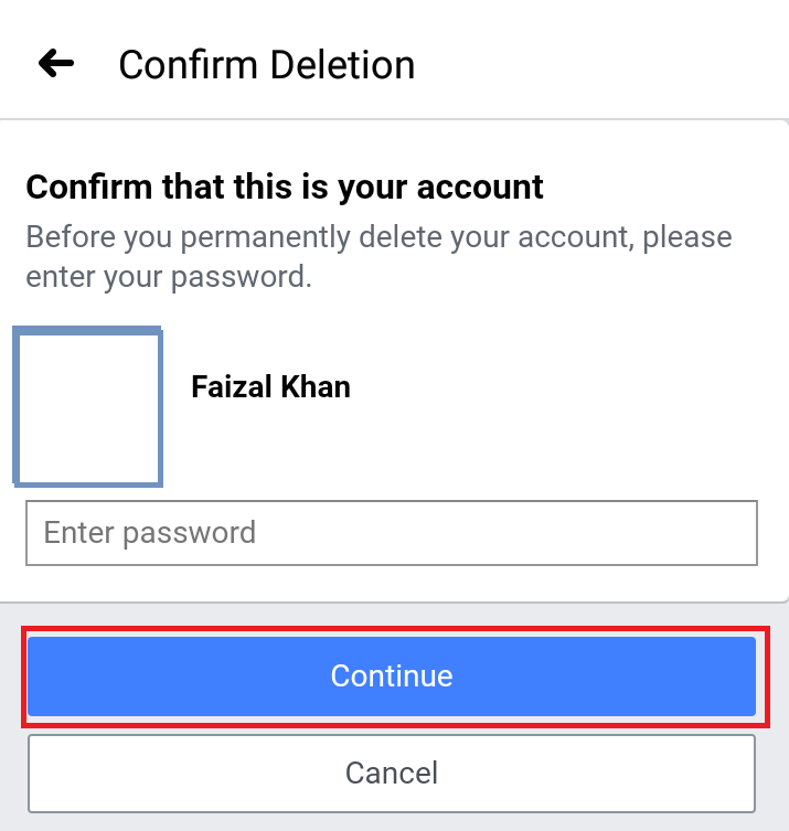 Enter Password before deletion