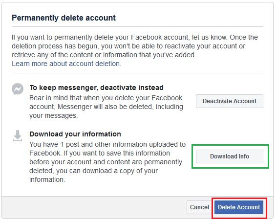 Options before deleting facebook account