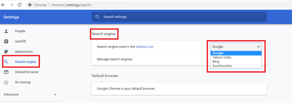 Set Uo Google As Default Search Engine For Chrome