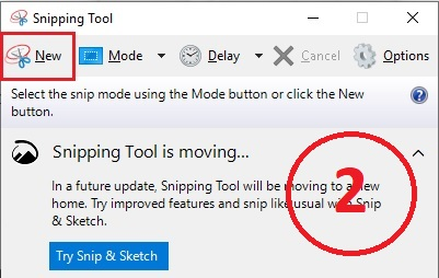 Snipping tool click new