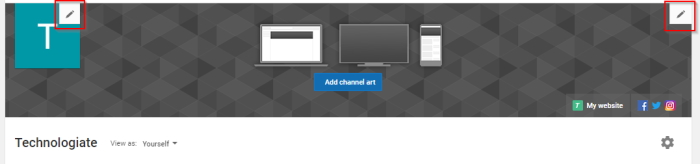 YouTube channel art and profile picture change