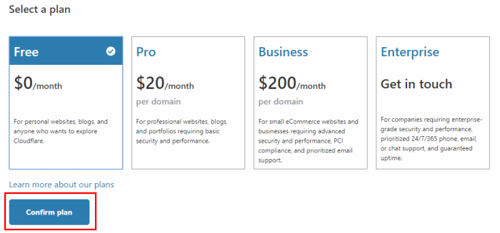 Cloudflare Plan Subscription