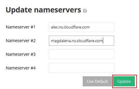 Update Nameservers For Website