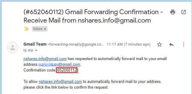 Gmail Forwarding Verification Code Mail