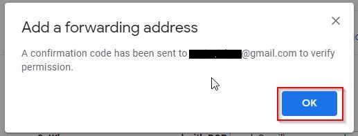Message For Confirm Forwarding Address