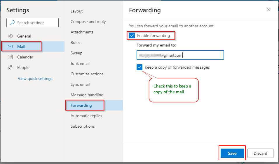 Outlook Enable Email Forwarding