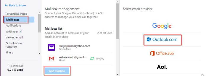 Add Outlook To Yahoo Mail