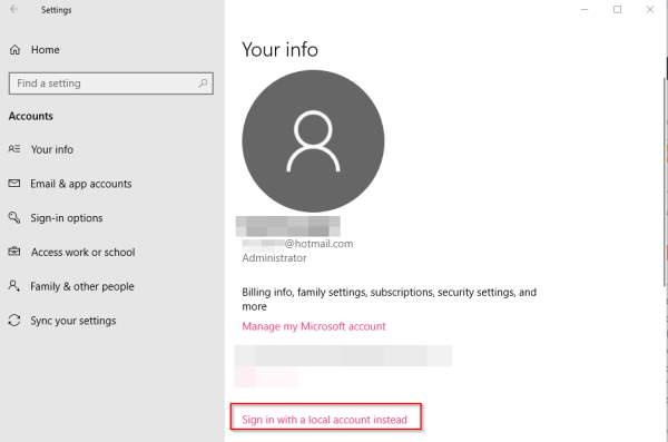 Microsoft Login Accounts Windows 10
