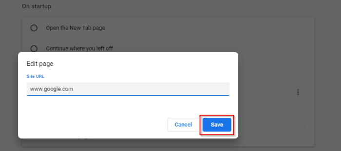 Set a specific page as default startup on Chrome
