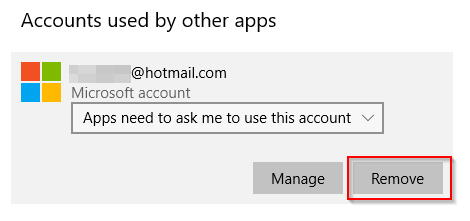 Remove Accounts Used By Other Apps
