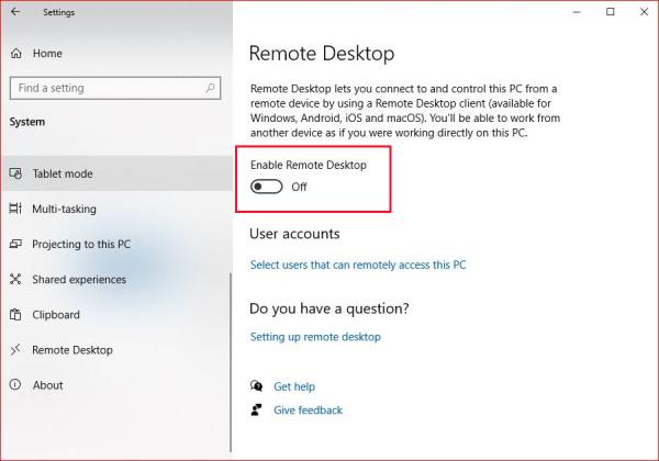 Enable Windows Remote Desktop