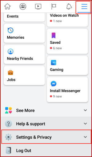 Facebook App Settings Privacy Menu