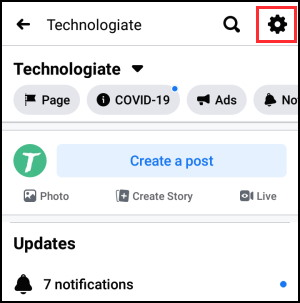 Facebook Page settings on app