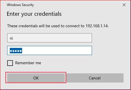 Remote Desktop asking username and password