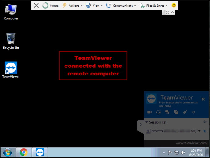 TeamViewer Connected with the remote computer