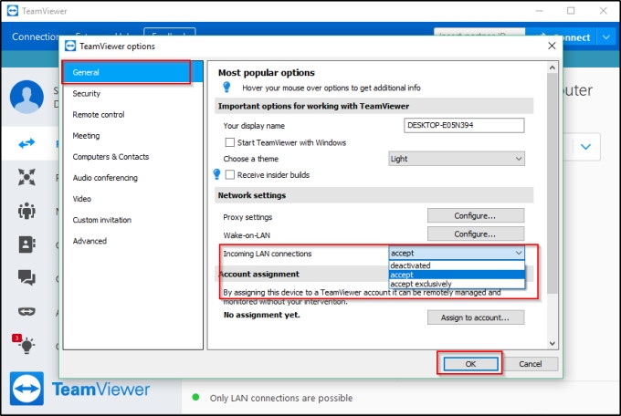 How to use team viewer within a local network
