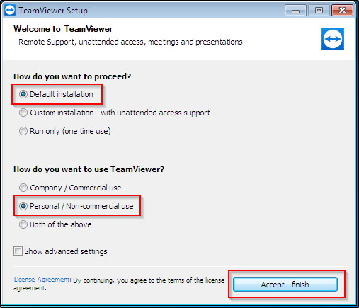TeamViewer installation for personal use