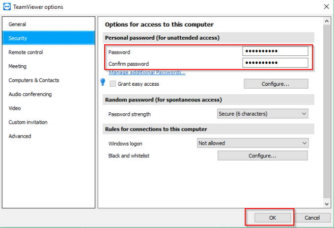 TeamViewer permanent password for unattended access
