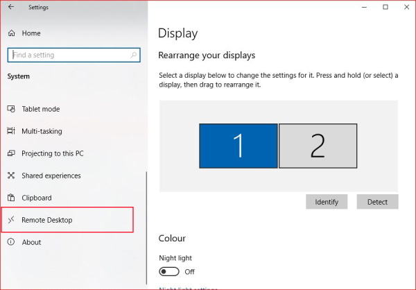 Windows Remote Desktop Settings System Settings