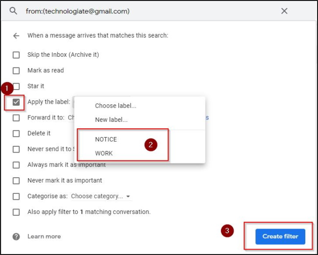 Auto Apply Label Filter By Email