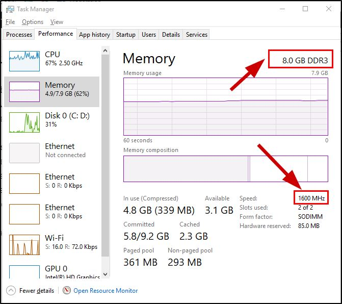 Check computers RAM specifications on Task manager