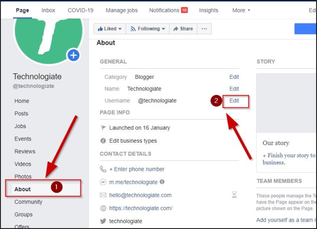 How to change the name of Facebook page