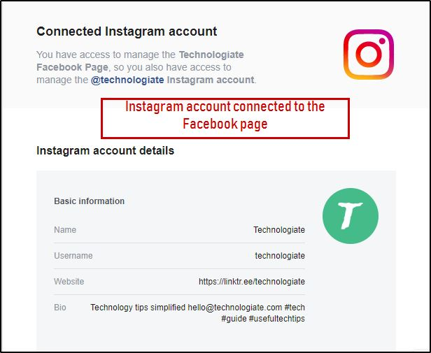 Instagram account connected to the Facebook page