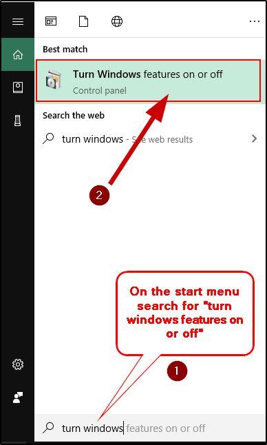 Open Windows Features settings from start menu