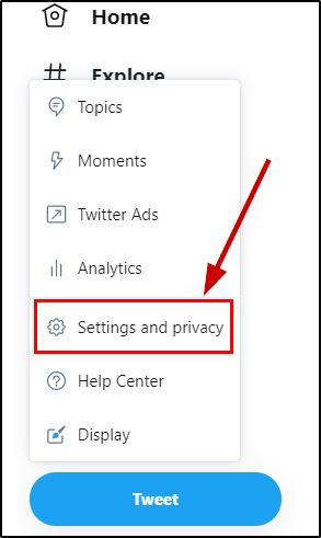 Twitter Settings and privacy option on browser