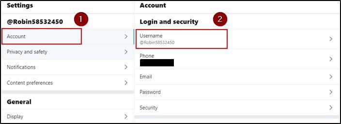 Twitter username option on desktop browser
