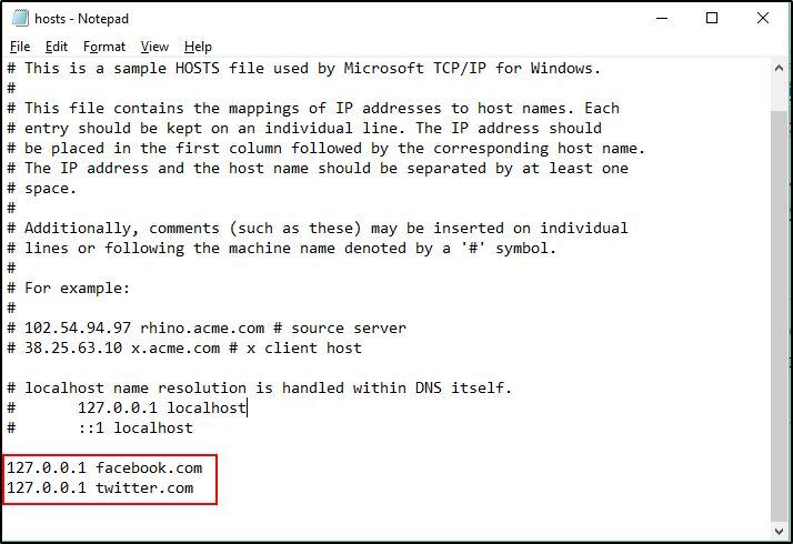 Block Sites Using Hosts File
