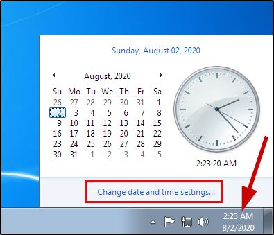 Chnage date and time settings on Windows 7