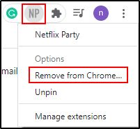 Delete Extension By Right Click