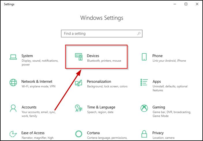 Devices Menu On Windows 10