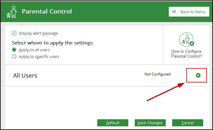 Parental Control configuration on Quick Heal