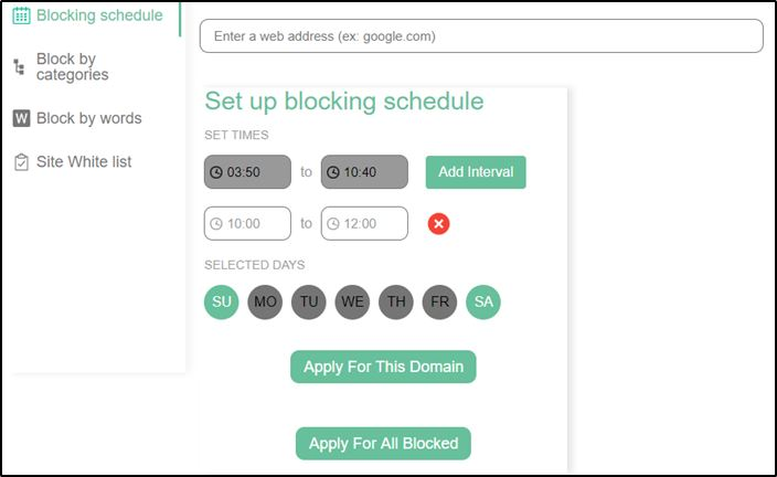 Site blocker scheduling