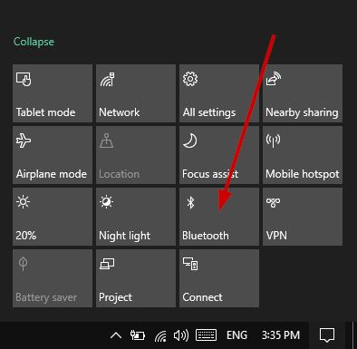 Turn On Bluetooth From Windows Action Center