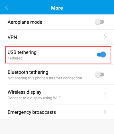 Turn on USB tethering on Android