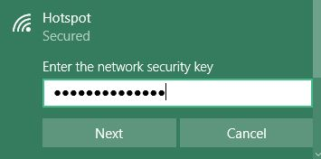 WiFI password entering on Windows